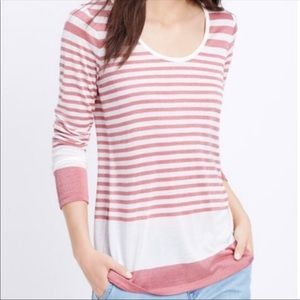 Vince Mouline Brick Red Striped Long Sleeve Sz L
